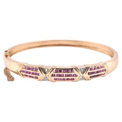 18k Yellow Gold Ruby and Diamond Bangle Bracelet