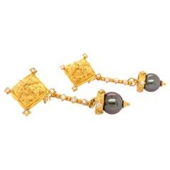 Black Tahitian Pearl Diamond Yellow Gold Earrings