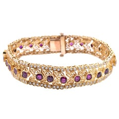 14 Karat Yellow Gold Vintage Diamond and Ruby Bracelet