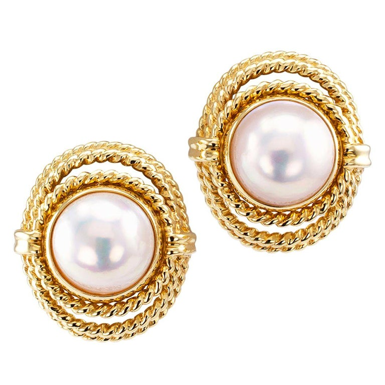 Tiffany & Co. Mabe Pearl Gold Earrings For Sale