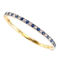 Oscar Heyman Diamond Sapphire Gold Platinum Bangle