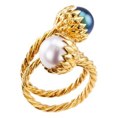 Schlumberger Tiffany & Co. Black White Pearl Ring