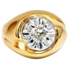 GIA Certified .53 Carat Natural Diamonds Men's Ring 14 Karat