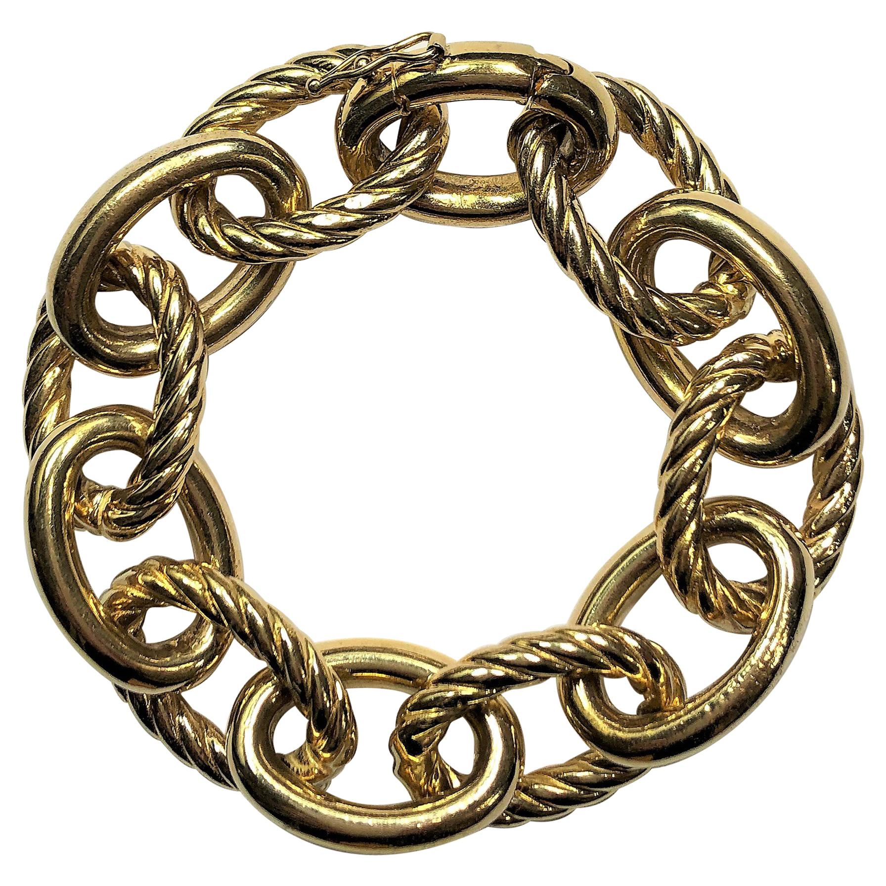 Heavy Weight Gold, Large Cable Link Bracelet
