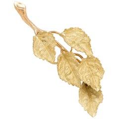 Vintage Leaf Brooch Pendant 18 Karat Gold Organic Branch Estate Fine Jewelry