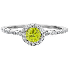 Fancy Vivid Yellow 0.36ct & White Round Brilliant Cut Diamond Cluster Ring