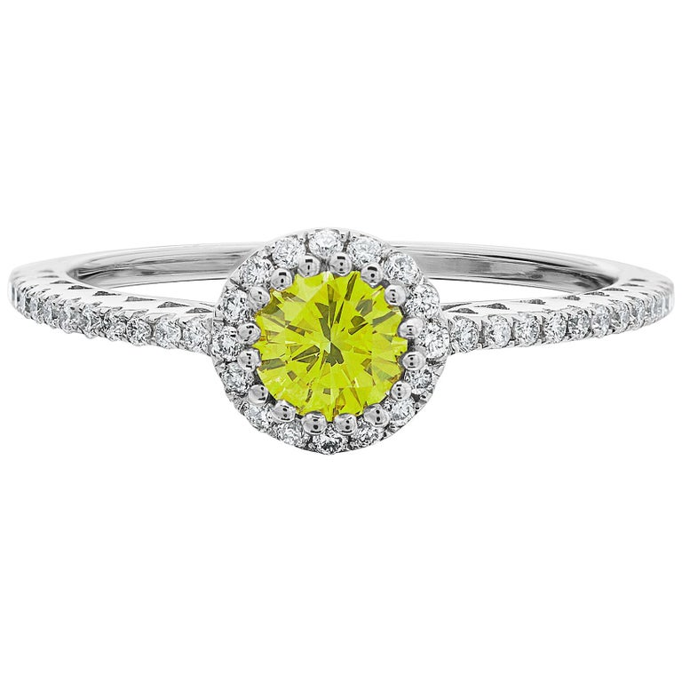 Fancy Vivid Yellow 0.36ct & White Round Brilliant Cut Diamond Cluster Ring For Sale