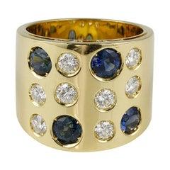 Stunning 1970 Natural Sapphire G VVS Diamond Rare Band Ring 15.8 Grams