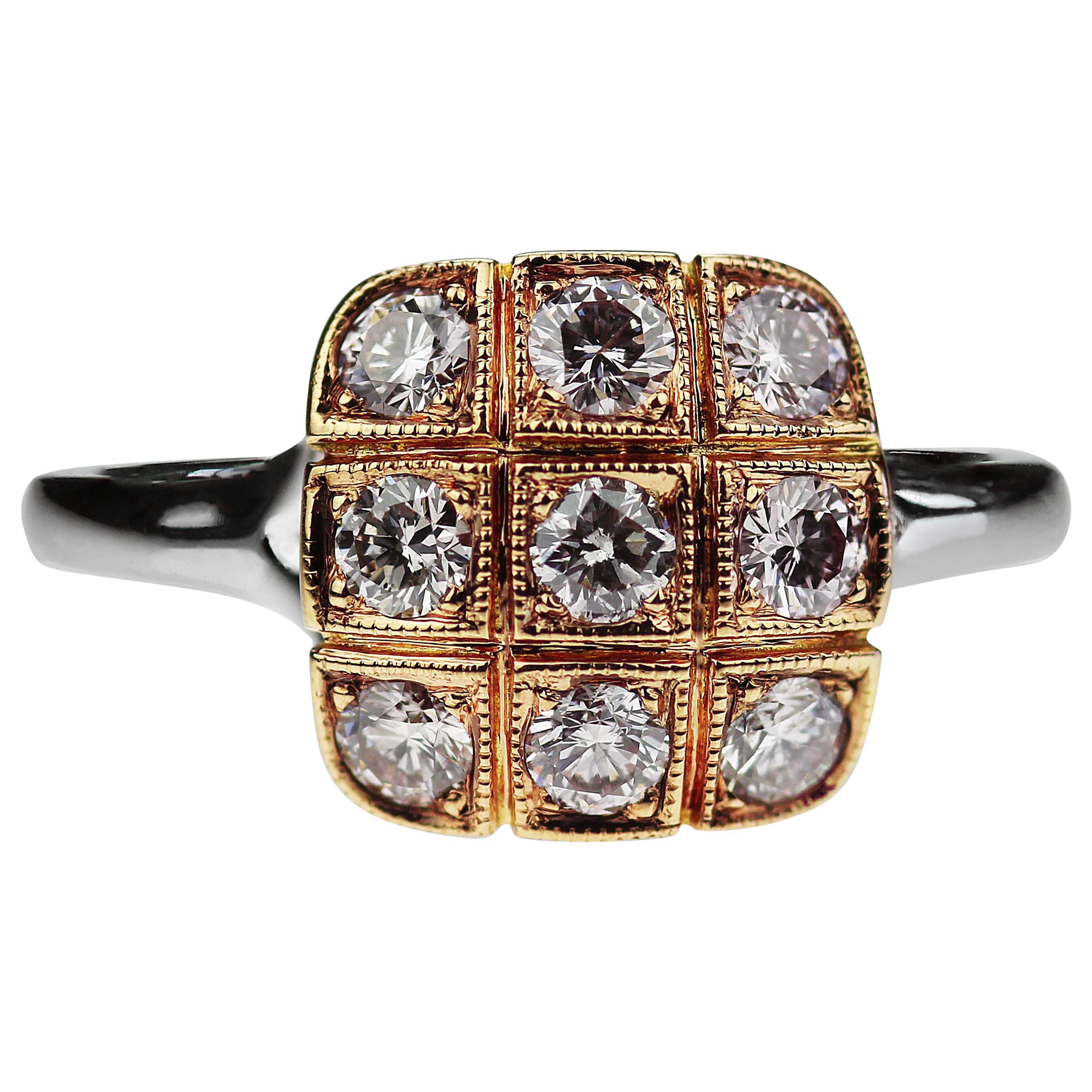 Natural Pink Diamond Square Cluster Ring in Bimetal 18K White & Rose Gold