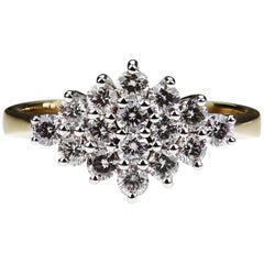 Natural Fancy Pink Diamond, Cluster Ring in 18K White & Yellow Gold