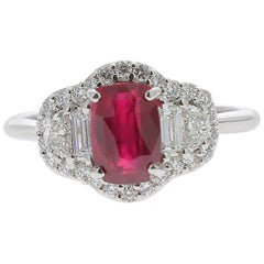 1.72 Carat Ruby Cocktail Ring Set with Baguette/Halfmoon/Round Diamond No Heated