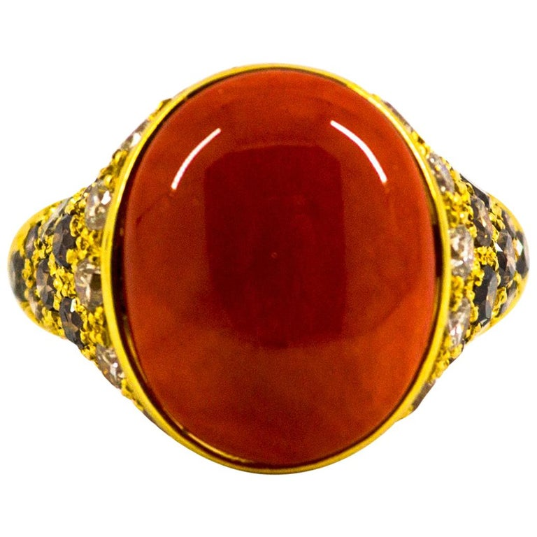 Mediterranean Red Coral 2.20 Carat White Brown Diamond Yellow Gold Cocktail Ring For Sale