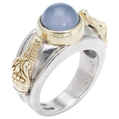 Barry Kieselstein Cord Alligator Ring Blue Chalcedony Sterling 14 Karat Gold