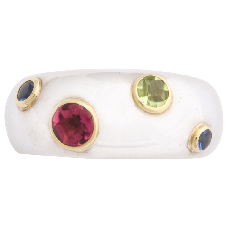 Vintage Tiffany & Co. Sterling Silver and 18 Karat Gem Set Ring For Sale