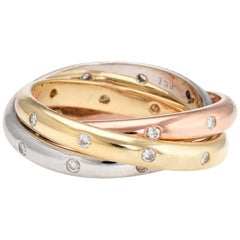 Estate Rolling Ring 3 Diamond Bands 18 Karat Tri Gold Vintage Fine Jewelry