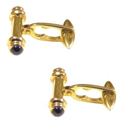 Sapphires Yellow Gold Cufflinks Handcrafted in Italy by Botta Gioielli
