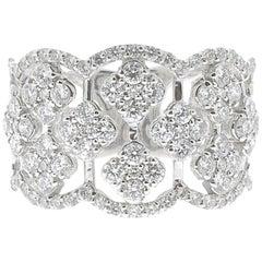 1.42 Carat Diamond Clover Ring 18 Karat White Gold Band Rings