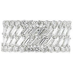 1.57 Carat White Gold Round and Baguette Diamond Ring Weighing Bridal Rings