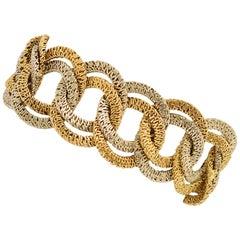 Bicolor Gold Overlapping Links Bracelet