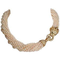 Van Cleef & Arpels Barquerolles Iconic Lion Gold Torsade Pearl Diamonds Necklace
