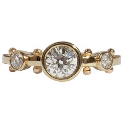 M. Hisae Handmade White Diamond and Bead 14 Karat Gold Trinity Ring