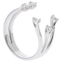 0.48 Carat GVS White Diamond Rings 18 Karat White Gold Fashion Rings