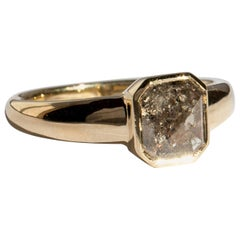 M. Hisae Handmade 1.43 Carat Brown Rosecut Diamond 14 Karat Gold Statement Ring