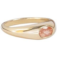 M. Hisae Handmade 0.6 Carat Oregon Sunstone Oval 14 Karat Gold Signet Ring
