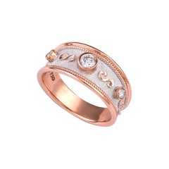 Georgios Collections 18 Karat Rose Gold Diamond and White Rhodium Band Ring