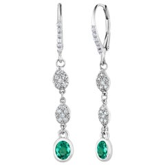 Emerald and Diamond Hoop Drop Earrings Weighing 1.40 Carat