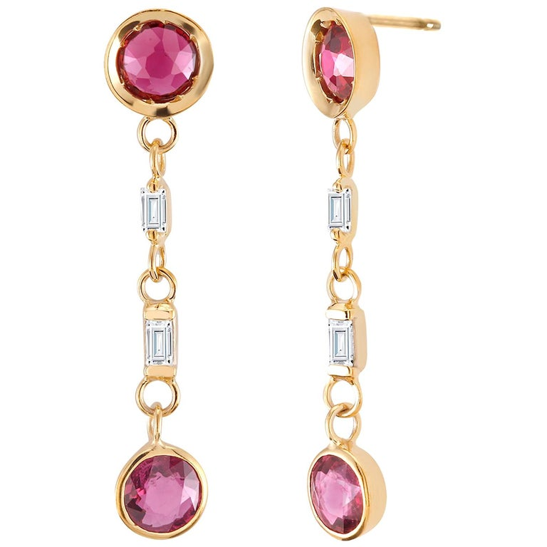 Ruby and Baguette Diamond Drop Gold Earrings  For Sale