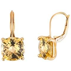 Cushion Yellow Beryl Drop Hoop Gold Earrings Weighing 8.20 Carat