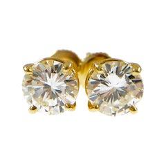 2.41 Carat Round Diamond Stud Earrings