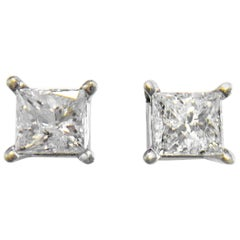 1 Carat Princess Cut Diamond Stud Earrings