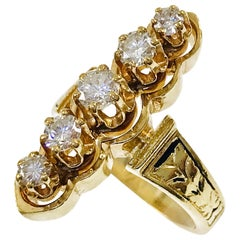 Victorian FJG Vertical Five-Diamond Ring