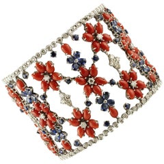 Red Rubrum Coral, Blue Sapphires, Diamonds White Gold Flowery Bracelet