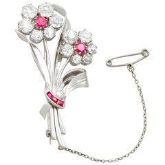 6.85 Carat Diamond Ruby and Platinum Brooch