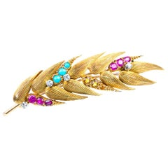Brooch in 18 Carat Gold of a Ear of Wheat Set with Stones