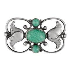 Georg Jensen Art Nouveau Brooch #236A Amazonite