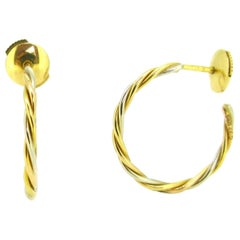Cartier Yellow White Two Gold Hoop Studs Earrings