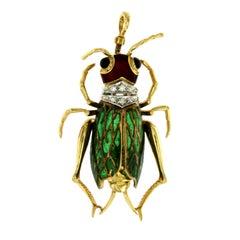 Antique Enamel Diamond Gold Cicada Brooch or Pendant