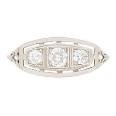 Edwardian Three-Stone Diamond Engagement Ring, circa 1910s