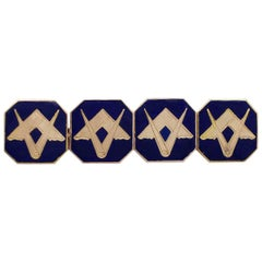Antique Gold Enamel Freemasons' 'Square and Compass' Cufflinks