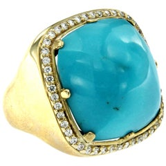 Vintage Turquoise Paste Diamond Cocktail Gold Ring