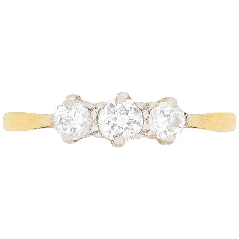 Edwardian Diamond Three-Stone Engagement Ring, circa 1910 For Sale