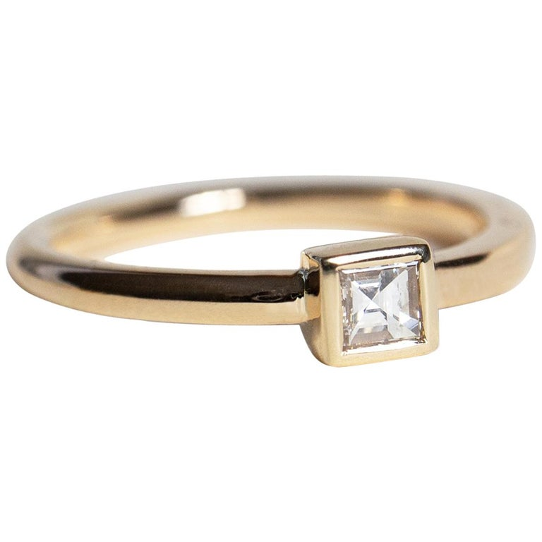 M. Hisae Carré Cut Antique White Diamond Engagement Ring For Sale
