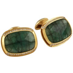 Tateossian Emerald White Diamonds Yellow Gold Cufflinks