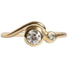 M. Hisae 0.25ct White Diamond Wave Engagement Ring