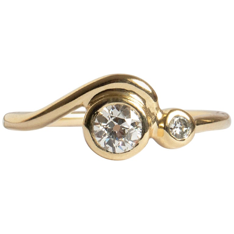 0afad9b50242b M. Hisae Handmade 0.25ct Old European Cut White Diamond 14k Gold Wave Ring