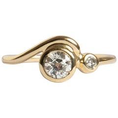 M. Hisae 0.5ct Old European Cut White Diamond Wave Engagement Ring